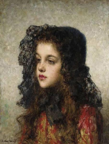 Harlamoff Alexei Little Girl with Veil